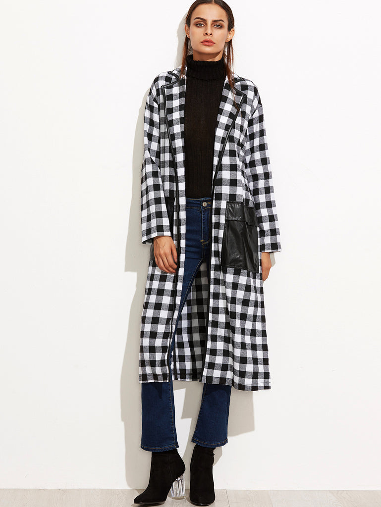Black And White Checkered Slit Wrap Coat With Oversized Pocket - The Style Syndrome