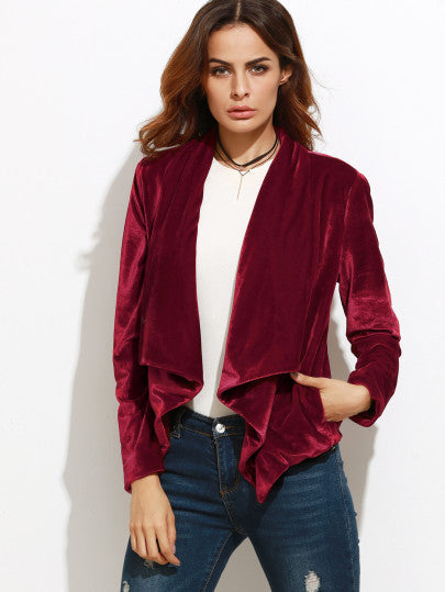 RZX Burgundy Waterfall Collar Velvet Blazer