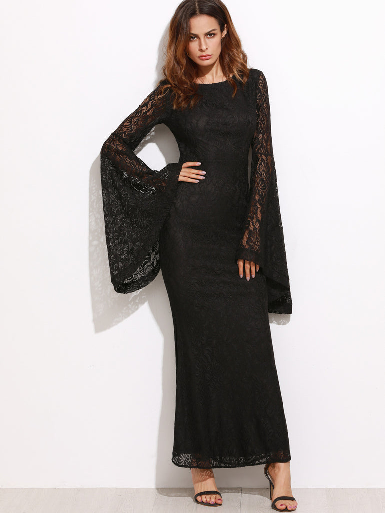 Black Oversized Bell Sleeve Floral Lace  RZX