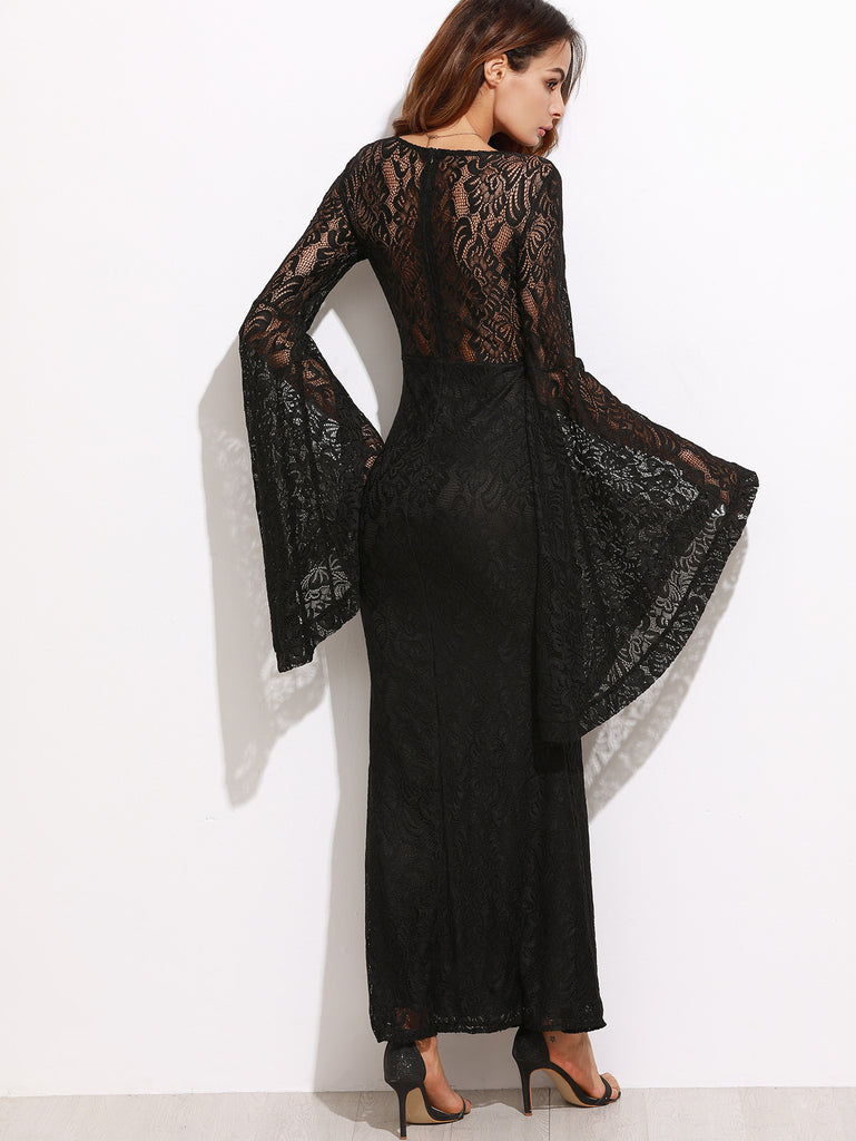 Black Oversized Bell Sleeve Floral Lace Dress