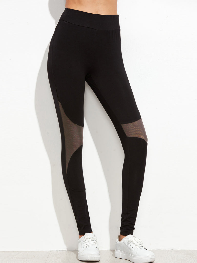 Black Contrast Mesh Panel Leggings - The Style Syndrome
