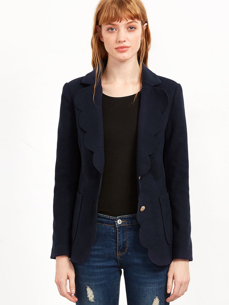 Navy Scallop Trim Single Breasted Blazer RZX