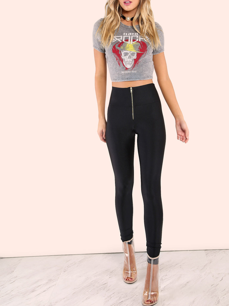 High Waisted Zip Front Nylon Leggings BLACK
