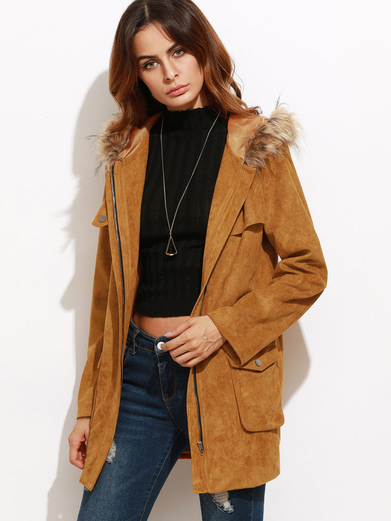 RZX Camel Faux Suede Utility Coat With Faux Fur Trim Hood