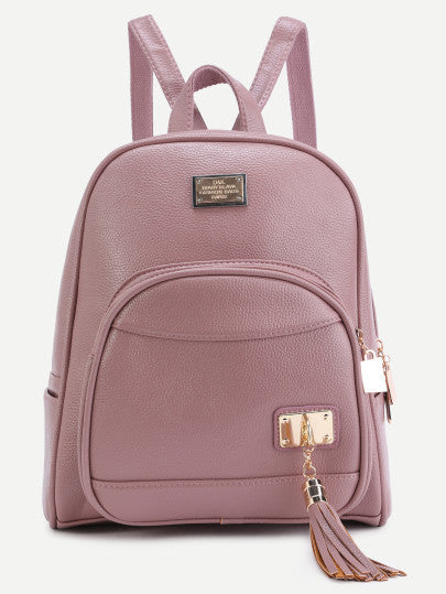 Pink PU Metallic Embellished Front Pocket Tassel Backpack