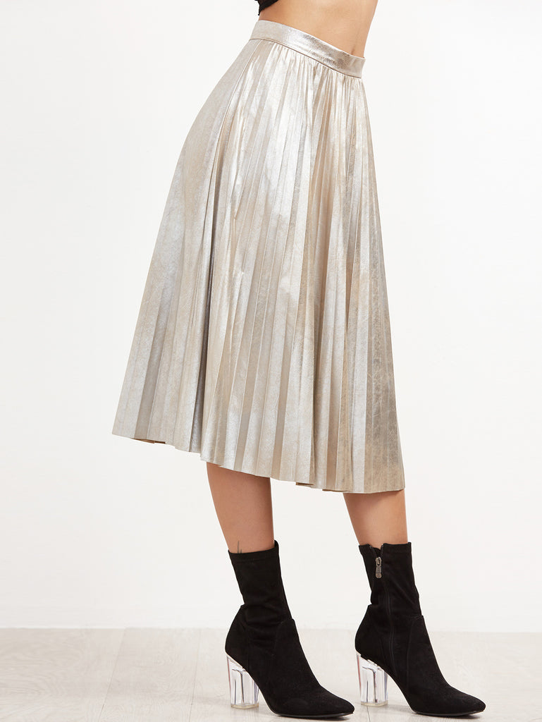 RZX Silver Pleated Circle Skirt