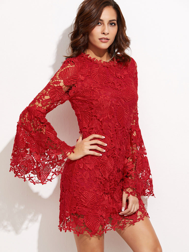 RZX Red Embroidered Lace Overlay Bell Sleeve Dress