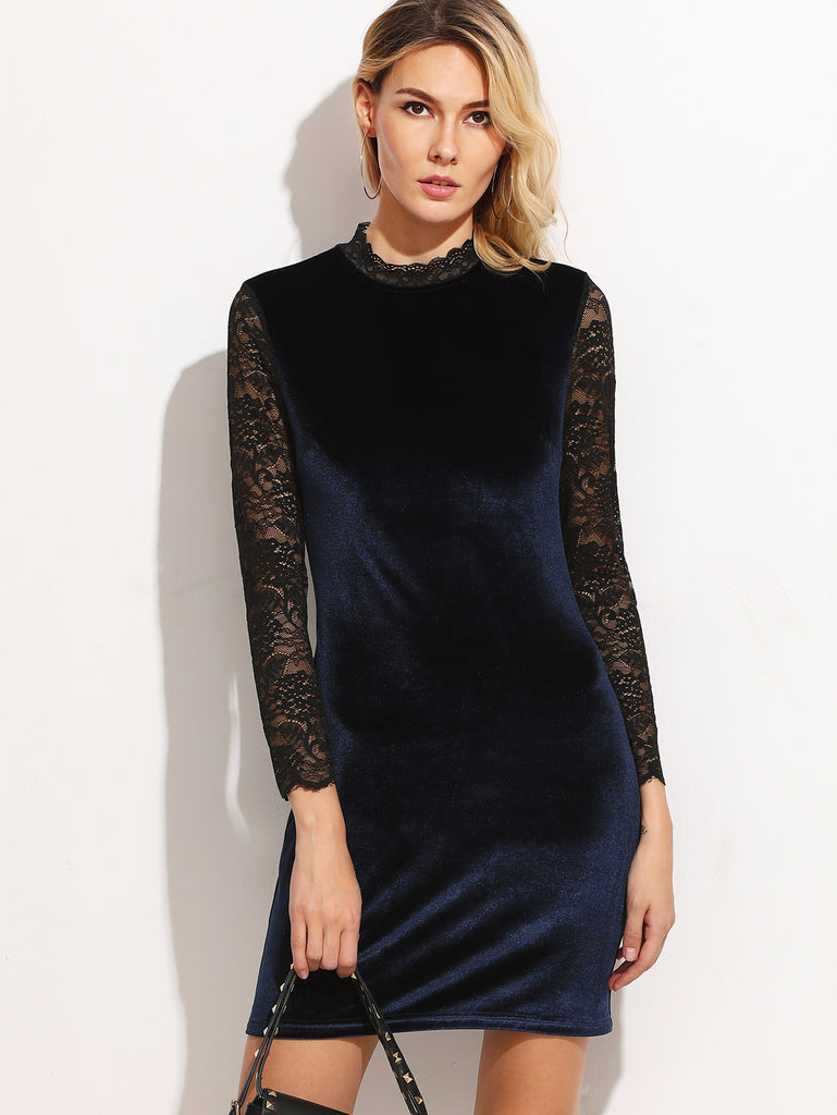 RZX Navy Contrast Lace Sleeve Keyhole Back Velvet Dress