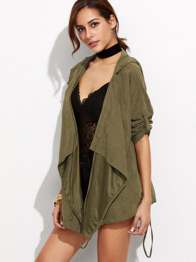 RZX Olive Green Roll Sleeve Waterfall Hooded Jacket