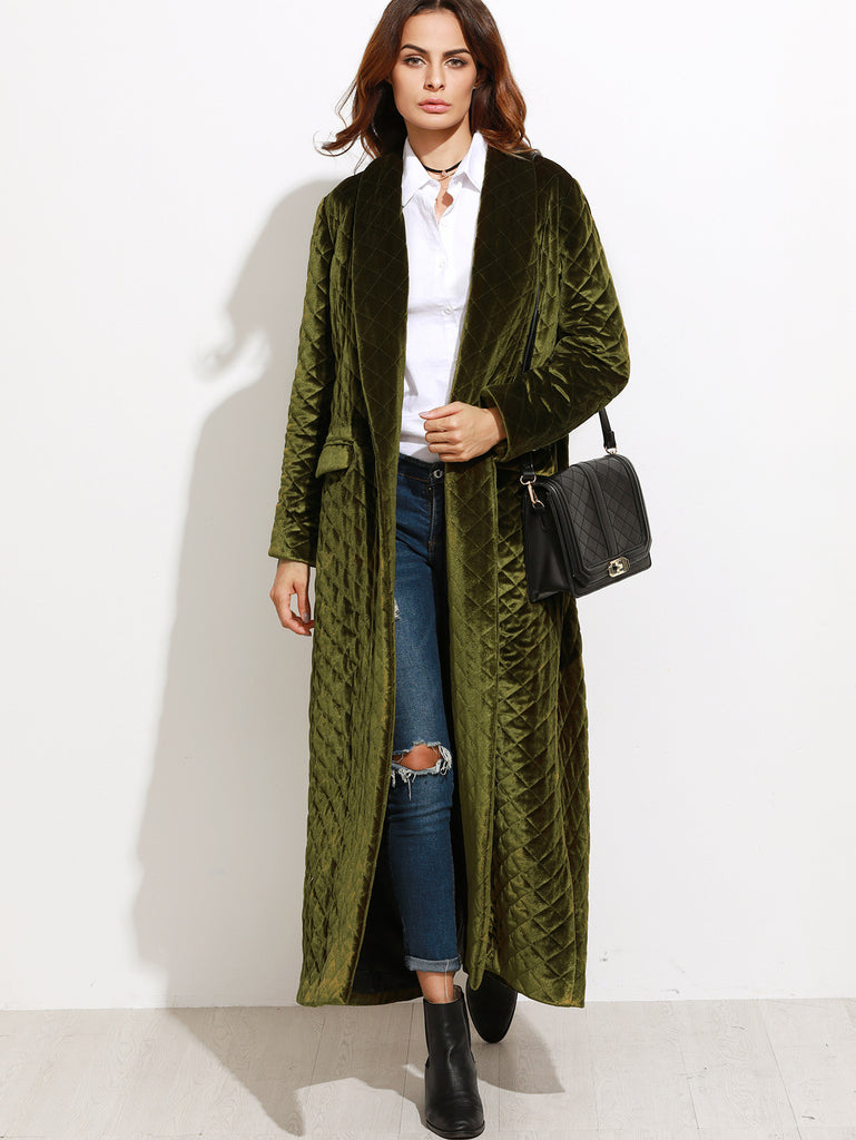 Olive Green Shawl Collar Quilted Velvet Coat RZX