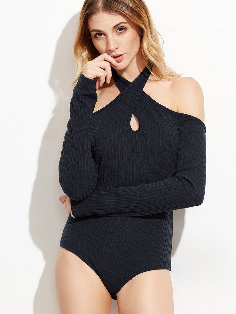 Navy Keyhole Cross Halter Neck Ribbed Bodysuit RZX