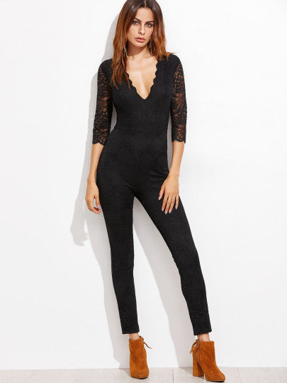RZX  Black Deep V Neck Sheer Sleeve Skinny Lace Jumpsuit