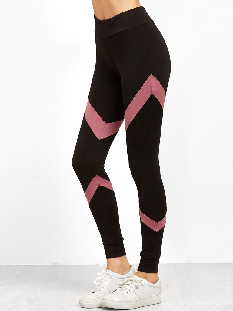 Black Contrast Panel Leggings RZX