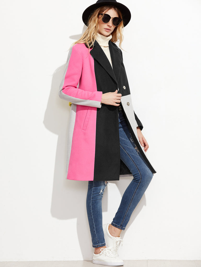 RZX Color Block Hidden Button Back Belted Coat