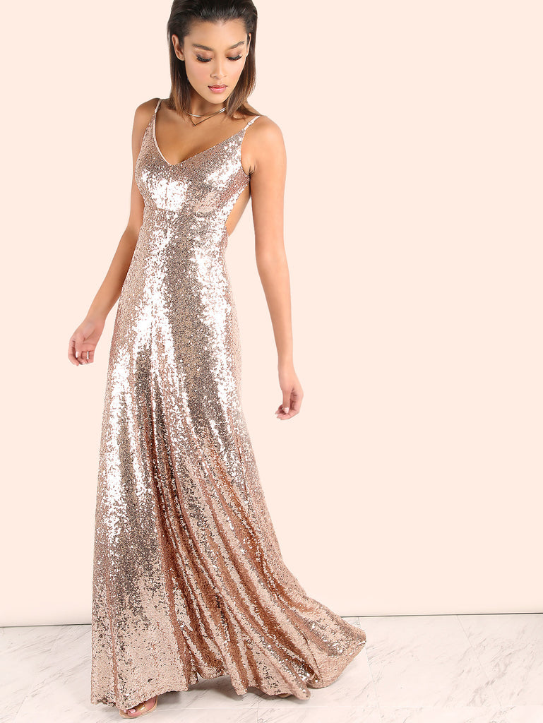 RZX Backless Sequin Cami Maxi Dress ROSE GOLD