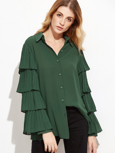 RZX Dark Green Pleated Layered Sleeve Blouse