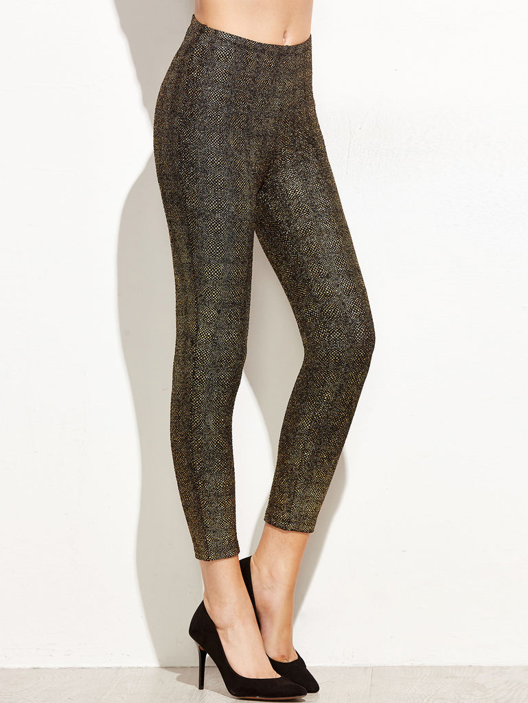 RZX Gold Crop Sparkle Leggings