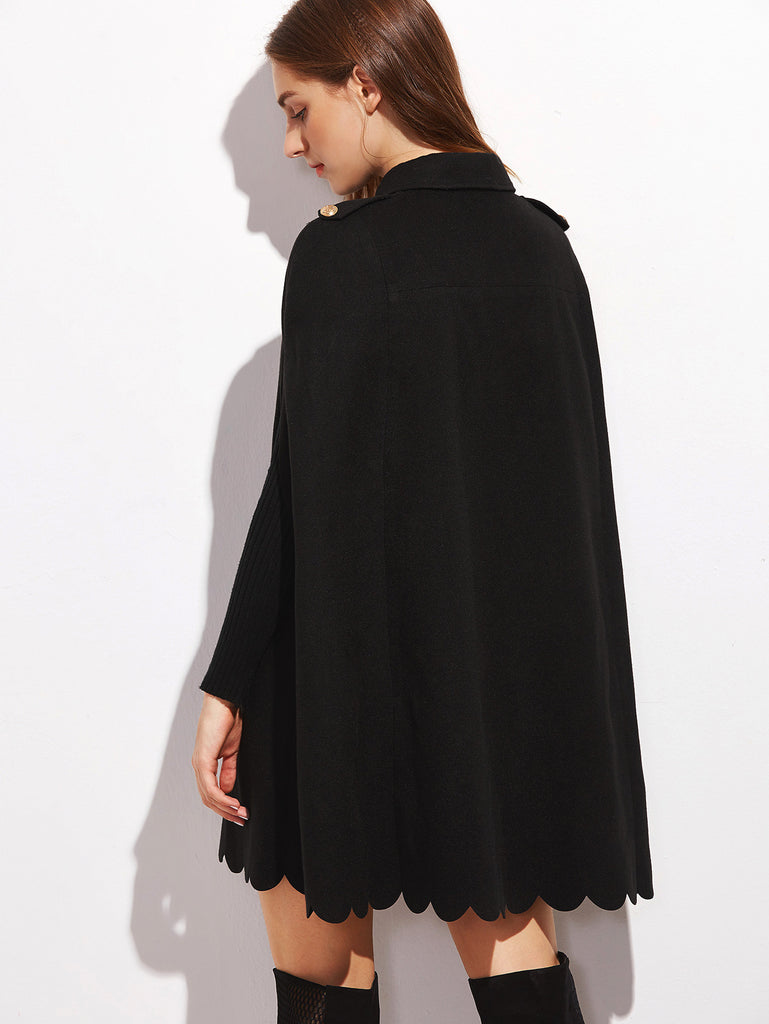 RZX Black Double Breasted Scallop Edge Cape Coat