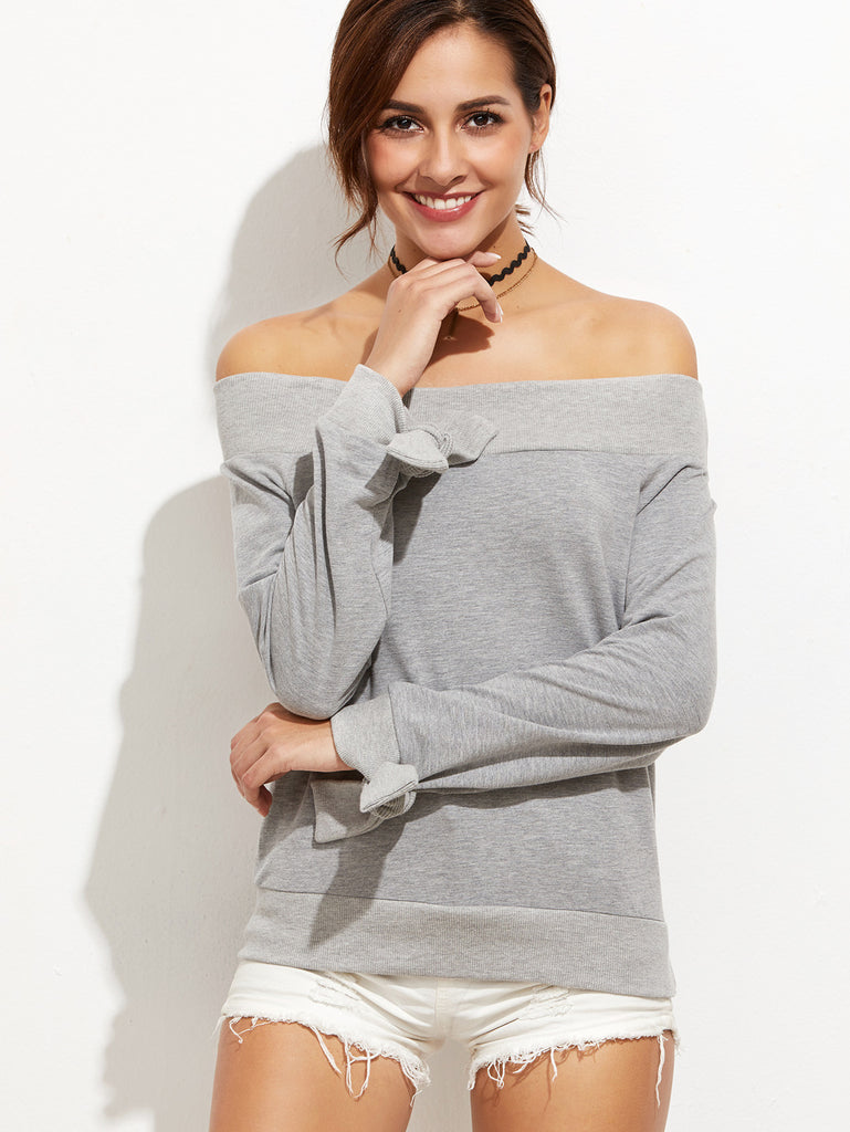 Heather Grey Off The Shoulder Tie Sleeve Sweatshirt RZX