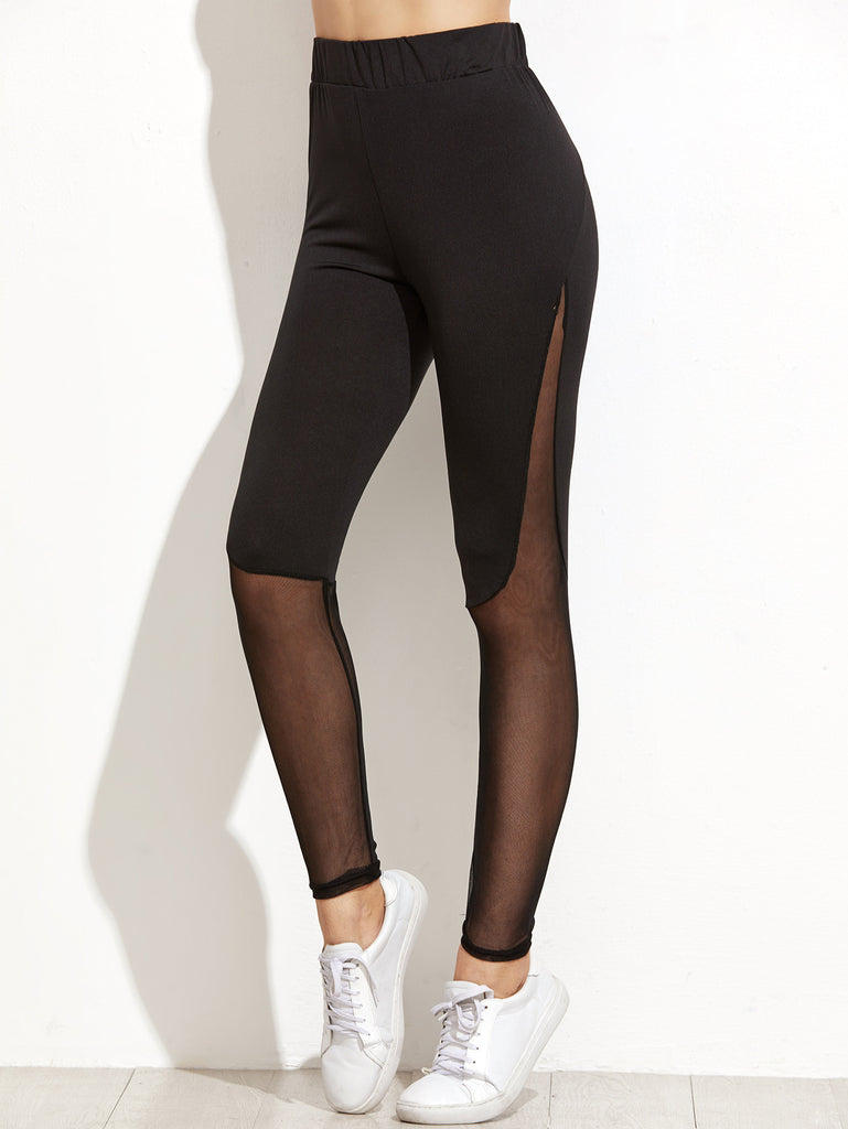 Black Contrast Mesh Leggings - The Style Syndrome