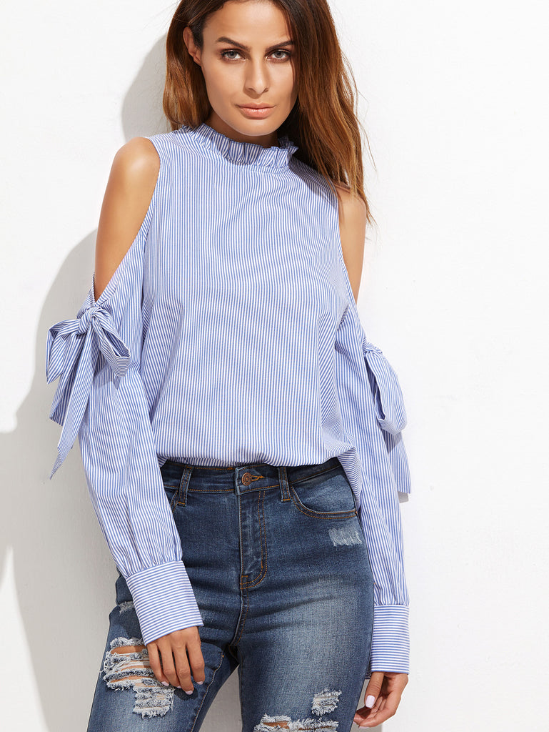RZX Blue Vertical Striped Ruffle Collar Cold Shoulder Blouse