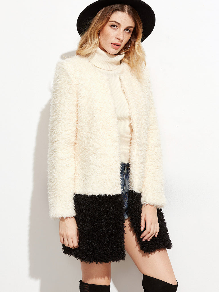 Contrast Collarless Open Front Fluffy Coat RZX
