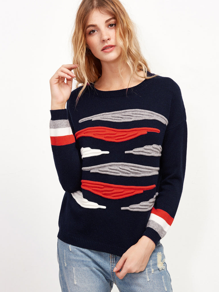 Navy Textured Knit Drop Shoulder Striped Sleeve Sweater RZX