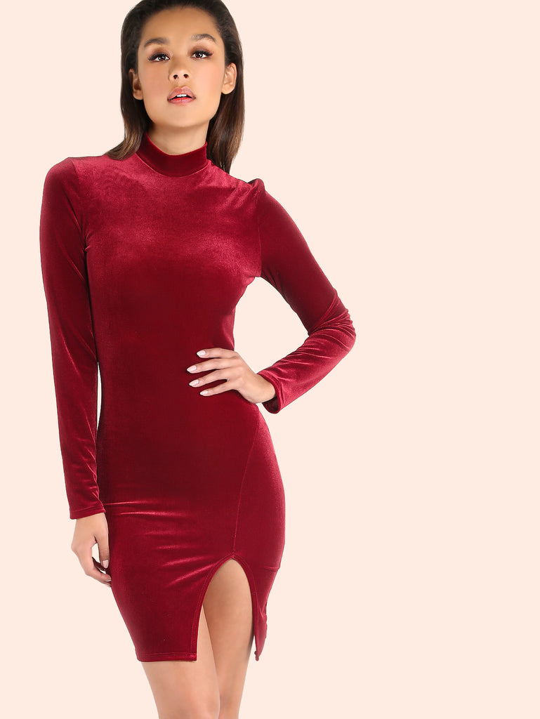 Velvet Turtleneck Slit Bodycon Dress BURGUNDY RZX