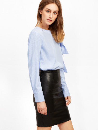 RZX Blue Vertical Striped Bow Tie Sleeve Blouse