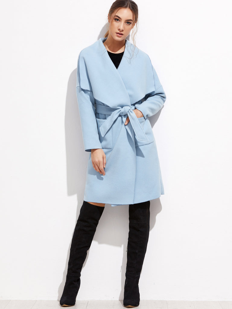 RZX  Blue Drop Shoulder Drape Collar Wrap Coat