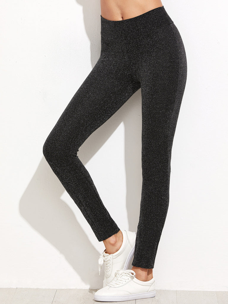 RZX Black Sparkle Ribbed Leggings