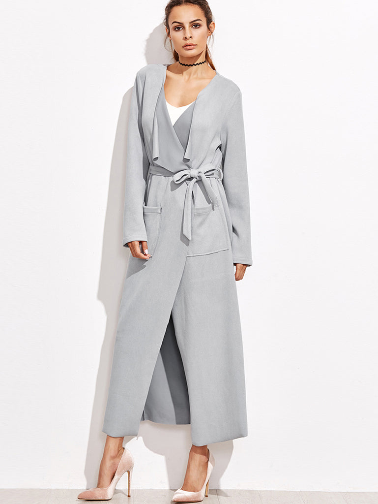 RZX Grey Waterfall Collar Wrap Coat With Pocket