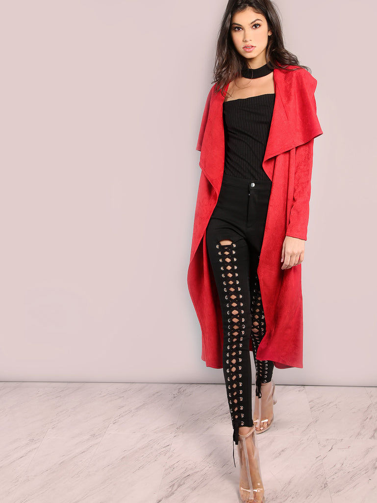 RZX Red Waterfall Collar Belted Duster Coat
