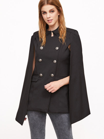 Black Double Breasted Cape Blazer With Pockets  RZX