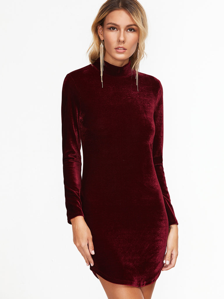 Burgundy High Neck Curved Hem Velvet Bodycon Dress