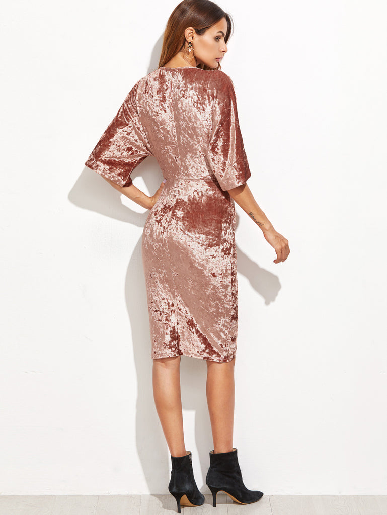 Brown Surplice Wrap Velvet Dress RZX