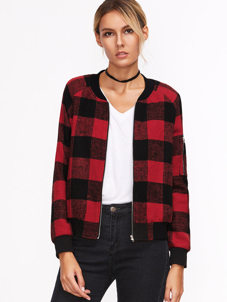 Red Plaid Zipper Pocket Jacket RZX