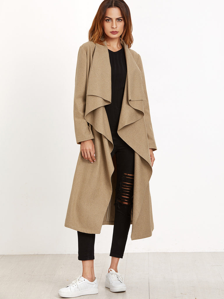 Khaki Waterfall Collar Belted Coat RZX