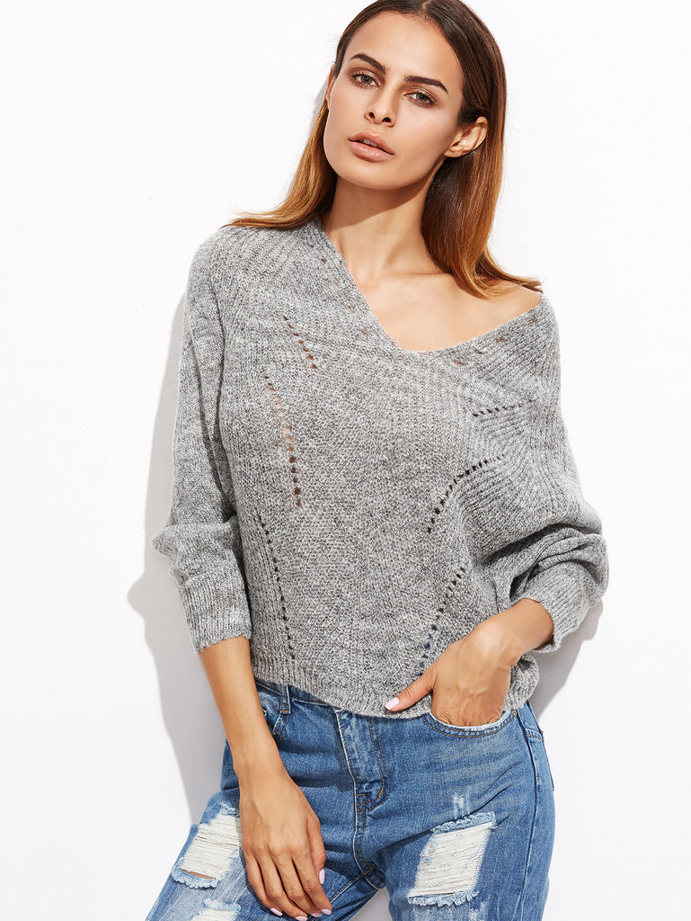 RZX Grey V Neck Batwing Sleeve Hollow Sweater