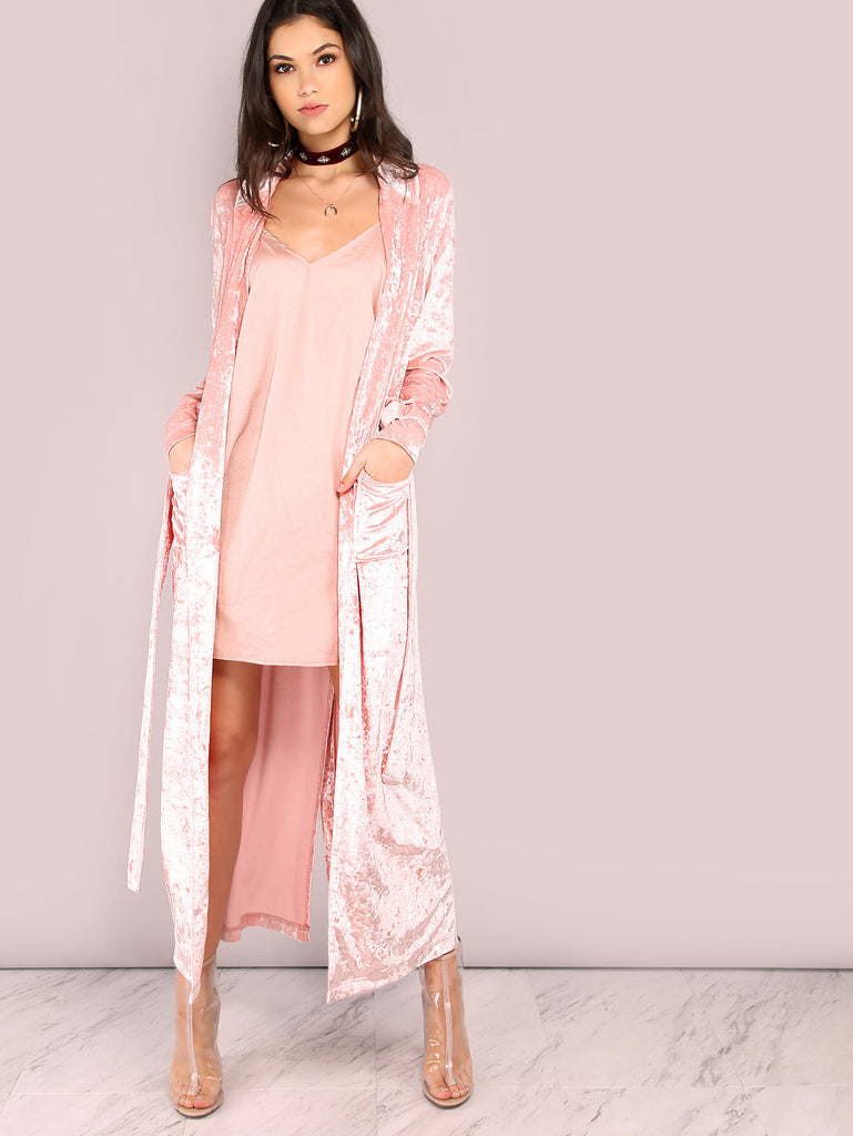 Pink Shawl Collar Longline Wrap Coat RZX