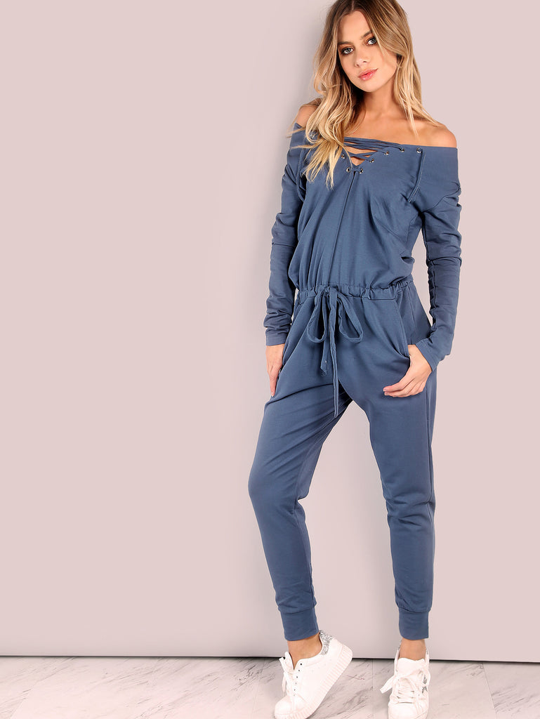 RZX Slouchy Lace Up Cotton Jumpsuit VINTAGE BLUE