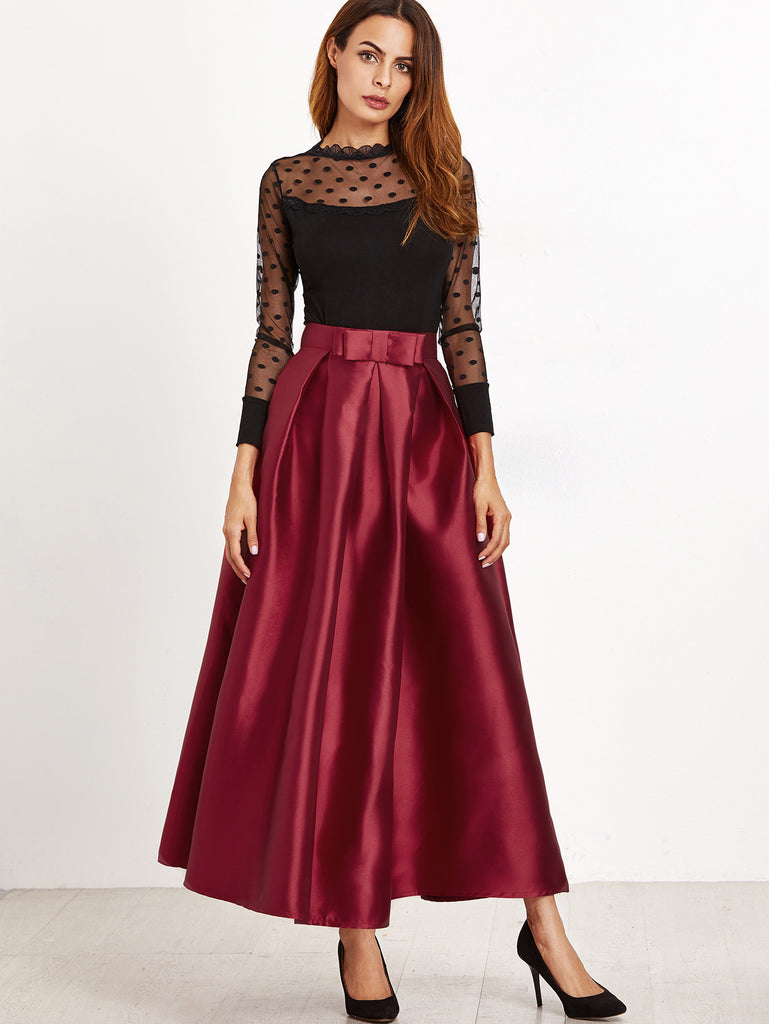 RZX Burgundy Bow Trim Pleated Long Skirt