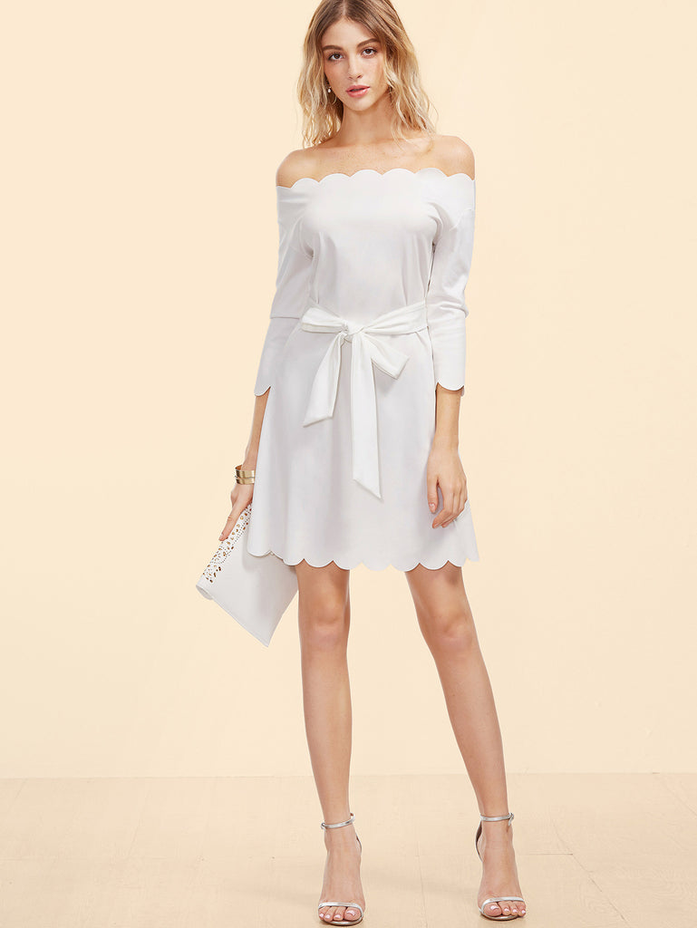 White Off The Shoulder Belted Scallop Dress RZX