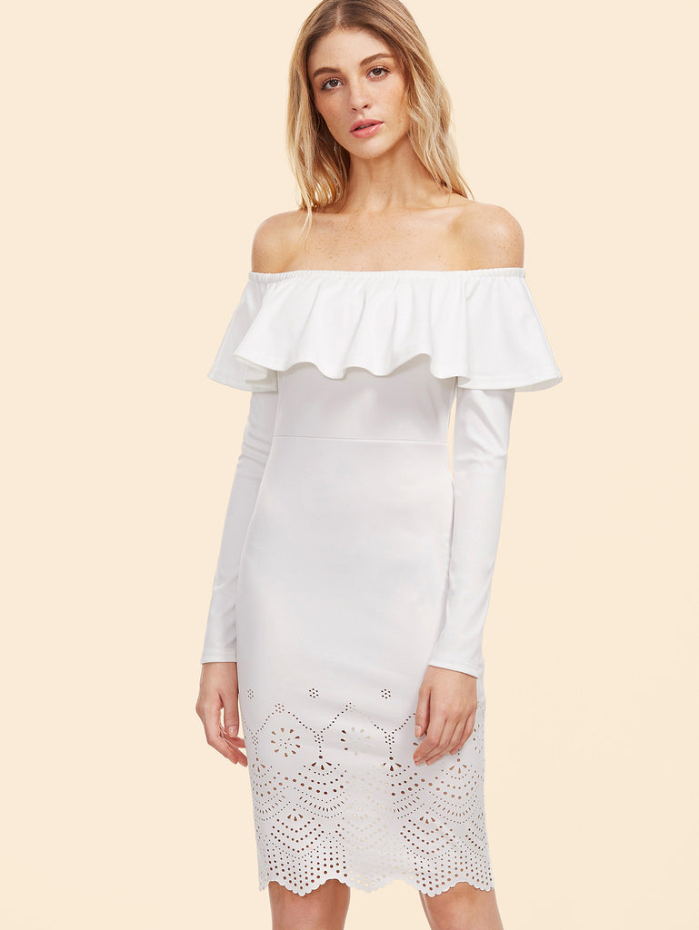 White Laser Cutout Off The Shoulder Ruffle Dress RZX