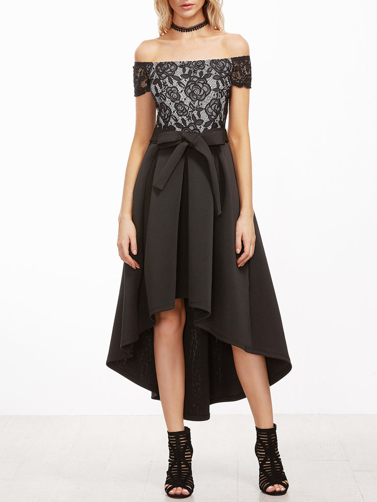 RZX Black Off The Shoulder Lace Top Pleated High Low Dress