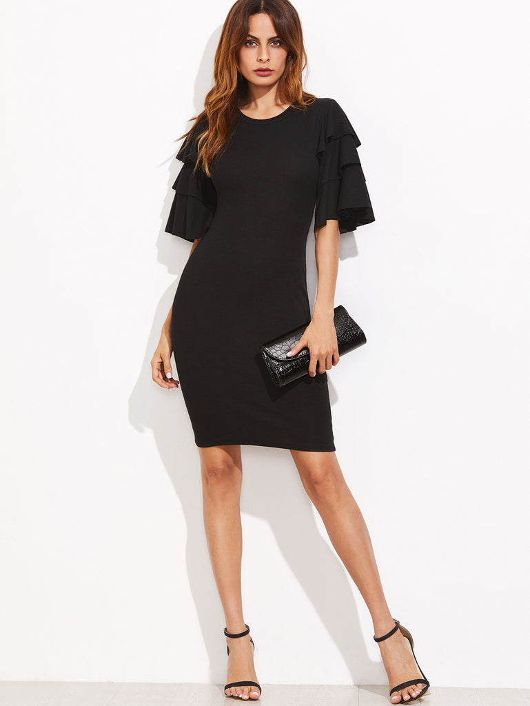 RZX Black Layered Ruffle Sleeve Ribbed Sheath Dress