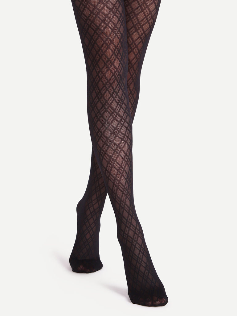 RZX Black Geometric Pattern Jacquard Sheer Pantyhose Stockings