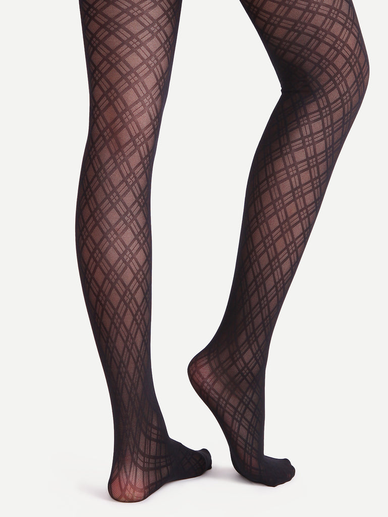 Black Geometric Pattern Jacquard Sheer Pantyhose Stockings
