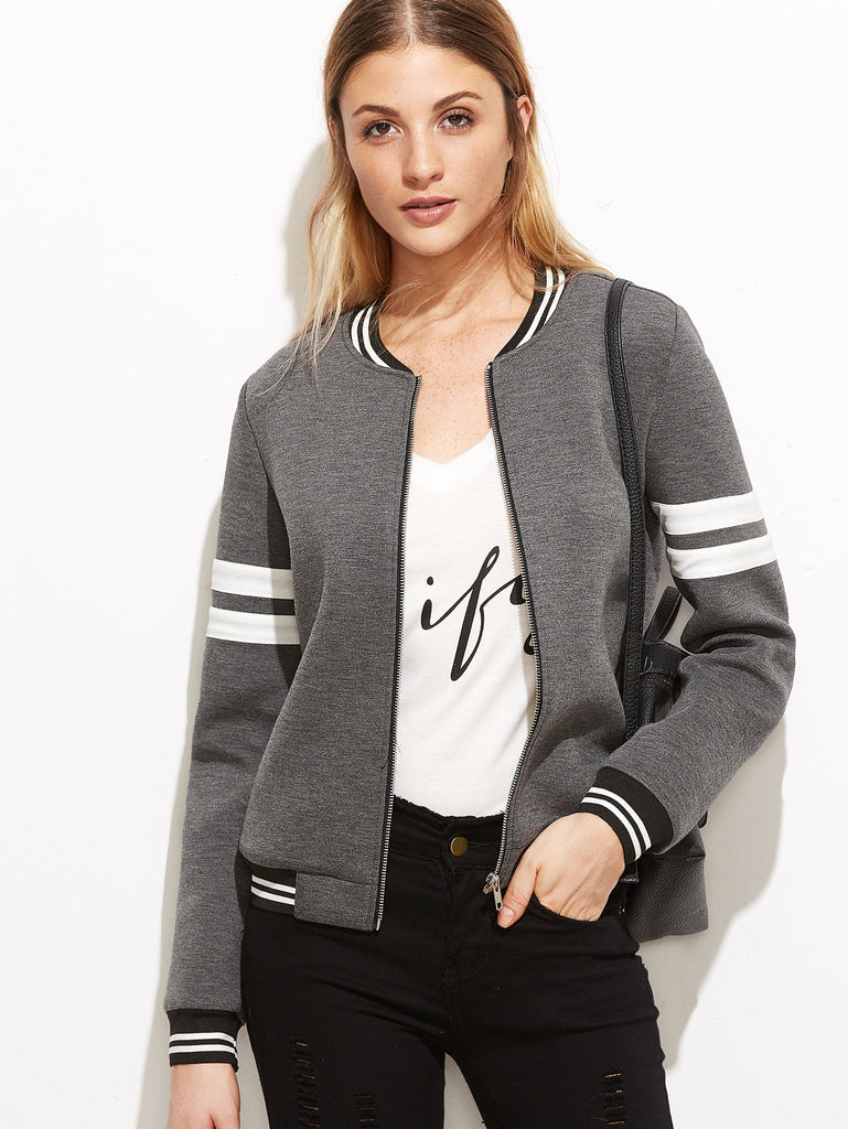 RZX Grey Striped Trim Zipper Up Bomber Jacket