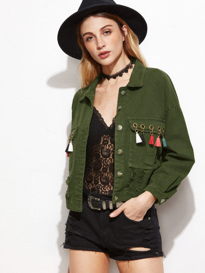 Army Green Eyelet Fringe Trim Denim Jacket - The Style Syndrome